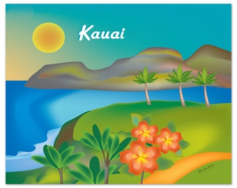 Kauai Art, Kauai map, Hawaii art, Kauai skyline art, Hawaii travel poster, Kauai souvenir, Kauai gift, Kauai HI Poster - Art style E8-O-KAU