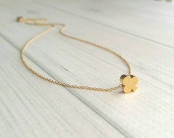 Small Clover Necklace - gold plated simple little slider charm pendant - delicate chain - St Patrick's Day Irish good luck minimalist leaf