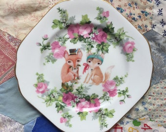 Fox Couple with Pink Floral Illustrated Vintage Plate