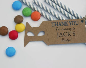 x10 Boys Party Favour Thank You tags Personalised Batman Inspired Superheros Avengers