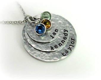 Mom Necklace Multiple Names Hand Stamped Personalized  Jewelry Hammered with Birthstones