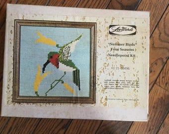 Vintage LeeWards Summer Birds Needlepoint Kit