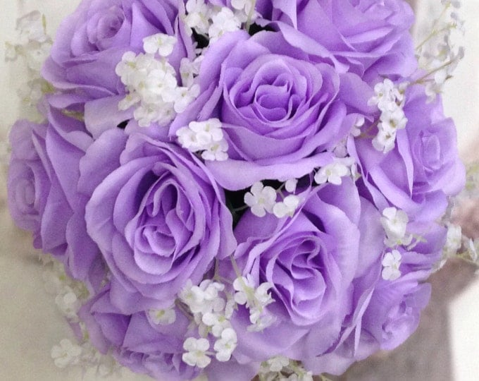 New Jennifer Silk Lavender Bridal Bouquet, Lavender and Baby's Breath Wedding Bouquet, Lavender Artificial Wedding Flowers