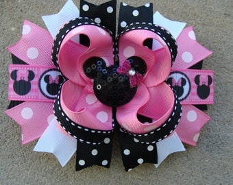 Minnie Mouse Hair Bow-Large Hair bow - Pink and Black Polka Dots Minnie Mouse Hair Bow