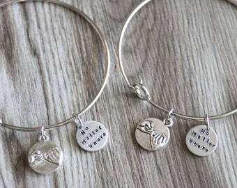 No Matter Where Bangle Bracelets, Pinky Promise Bangle Bracelets, 2 Bangles, Best Friends Bangle, Bff Gift, Friendship, Long Distance Gift