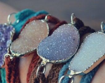 DRUZY WRAPS /// Braided Leather Bracelet /// Silver
