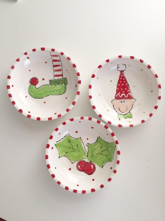 Hand painted Ceramic Christmas dish, soap holder, trinket bowl, elf face bowl, elf foot bowl, holly leaf bowl, hand painted Christmas bowl