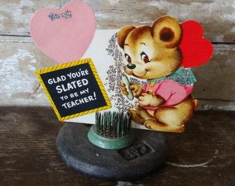 Vintage Valentine Bear Pink Heart Sweet 1950's or Earlier Retro