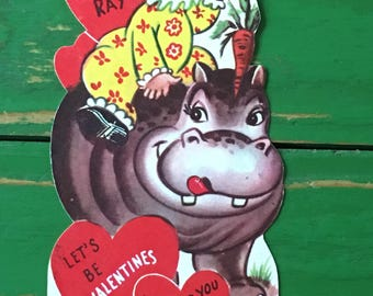 Vintage Valentine Hippo Heart Sweet 1950's or Earlier Retro