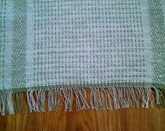 Rag rug, handwoven, light sage green, made in USA