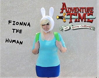 Fionna, Adventure Time Hat, Fionna Cosplay, Comic Con, White Bunny Ears Hat, Gift ideas under 35, Gifts for her, Trending gifts