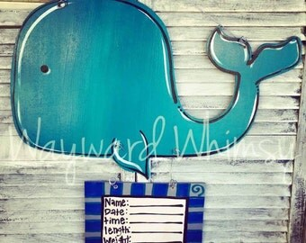 Whale Wood Cut Out Door Hanger