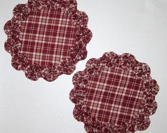 Fabric Candle Mats Or Doilies, Matching Pair, With YoYo Trim, Country, Primitive Decor