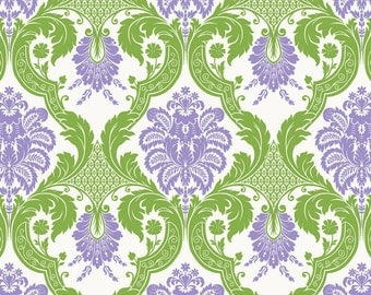 Green and Lilac Damask - Cotton Fabric - Waverly - by the YARD