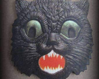 Scary Black Cat Needle Minder with double magnet by cheswickcompany