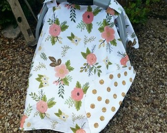 Car Seat Cover - Baby Car Seat Canopy - Floral Car Seat Canopy - Girls Car & Baby Car Seat Canopy Baby Car Seat Cover Grey Car Seat
