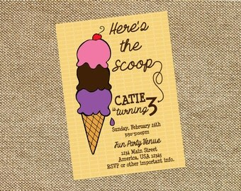Ice Cream Social Birthday Invitation