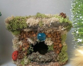 Fairy Fireplace Fieldstone Miniature Night by MossCreekStudio