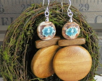 Wood and Hand Made Ceramic Flower Turquoise Rustic Earrings with Sterling Ear Wires
