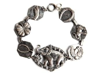 Vintage Victorian Elephant Goodluck Chain Bracelet - 3 Dimensional - Elephant Wishbone Four Leaf Clover Horseshoe - One of a Kind