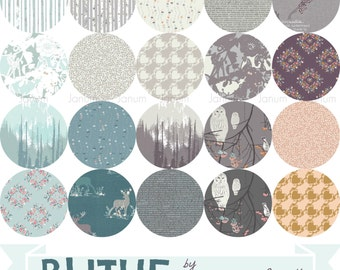 Complete half yard or one yard bundle from the Blithe fabric collection by Katarina Roccella for Art Gallery fabrics- 20 pieces