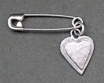 HEARTS FOR CHARITY: Small Silver Layered Heart Sweater pin/Brooch and Pendant, 50% of costs go to charity (safetypin project)