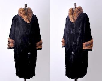 1920 cocoon coat. fur. large. 20's black fur coat. beaver & muskrat collar. xl.