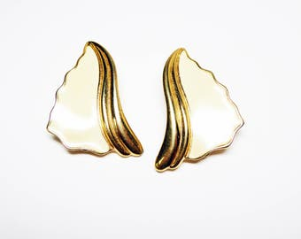Trifari Enamel White Clip on Earrings - White and Gold Tone Abstract - Vintage 1990's Era