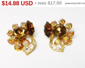 Spring Sale Vintage Rhinestone Earrings - Aurora Borealis & Golden Topaz Crystal Flowers - Clip on Earrings