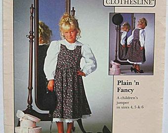 RARE Vintage 80's The Clothesline Plain n' Fancy Girl's Jumper Sewing Pattern CL-206 UNCUT Children's Sizes 4, 5, 6, Jenny Wren Ltd