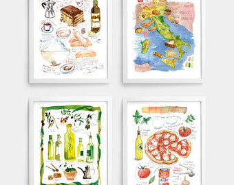 Set of 4 italian food prints, Italian kitchen decor, Watercolor posters of Italy, Pizza, Olive oil, Tiramisu, Map of Italy, Kitchen Wall art