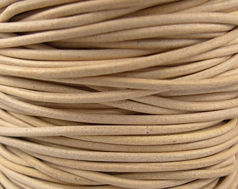 2mm Natural Leather Cord, Distressed Leather, Round Cord, Genuine Leather, Soft Leather, Sold by the Foot