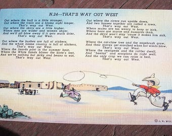 Vintage Cute Cartoon That's Way Out West Post Card N.24 J.R. Willis Dated 1945