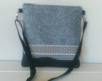 Felt and Leather Tote with Grey