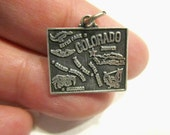 Vintage Sterling Colorado State Charm Signed Sterling Gift Under 15 Small Silver Charm Jewelry Gift for Her