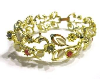 Vintage Rhinestone Gold Bracelet Enamel Floral Leaf Leaves Jewelry Gift Idea for Her Under 25 Pink Blue Stones
