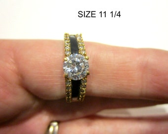 Black Enamel Rhinestone Ring Size 11 1/4 Large Ring Gold Jewelry Gift for Her Gift for Mom Gift under 10 Gift Idea