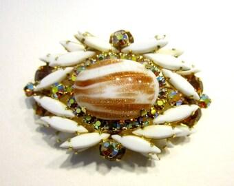 Vintage Juliana Brooch Rhinestone Brooch D & E Juliana Copper Fluss Brooch Designer Jewelry Milk Glass Pin