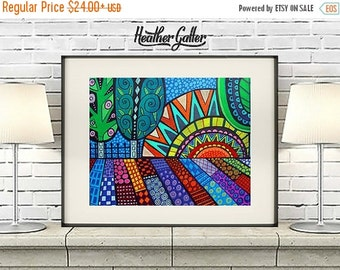 50% Off Today- Tree Folk art Art Print Poster by Heather Galler (HG874)