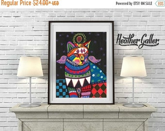 50% Off Today- CAT Folk ART Art Poster Print of painting by Heather Galler Angel Cat Portrait Memorial Gift (HG272)