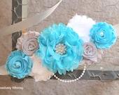Maternity Sash, Boy Maternity Sash, Blue Maternity Sash, Turquoise Sash, Maternity Flower Sash, Vintage Sash, Turquoise Grey White, RTS