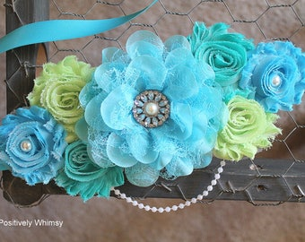 Maternity Sash, Boy Maternity Sash, Blue Maternity Sash, Green Sash, Maternity Flower Sash, Turquoise, Celery Green, Tropic, White, RTS