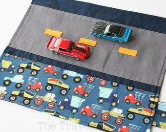 Car Caddy Roll Up w/ Road Play Mat - Little Movers - (Holds 5 Toy Cars) - Made to Order (Car Wallet/Holder/Travel Matchbox Car Carrier)