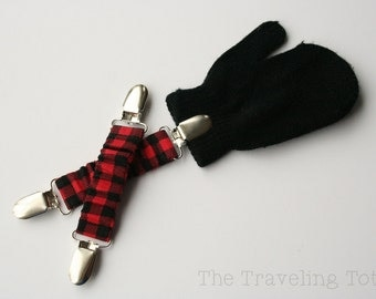 Adjustable Mitten Clips - Red Plaid (Mitten Holders/Keepers/Straps w/ Adjustable Hidden Elastic) - Ready to Ship!