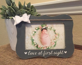 Love at first sight frame Personalized custom picture frame gift new baby frame pregnant baby ultrasound frame frame baby frame new mom gift