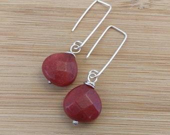 Red Gemstone Earrings. Dyed Jade Briolettes Sterling Silver Geometric Jewelry. Teardrop Cranberry Gemstone Rustic Earrings. Modern Earrings.