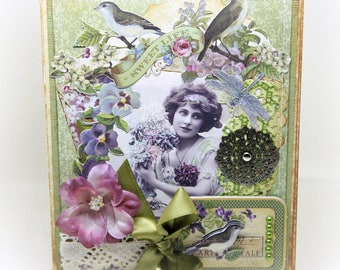 Mother's Day Card  - Bird Card - Floral Card - Shabby Chic Card - Cottage Chic Card - Vintage Inspired Card - Handmade Blank Greeting Card