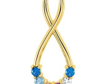 Family 1 to 6 Birthstone Infinity Slide Pendant, 14K Rose, White, or Yellow Gold Pendant, Custom-Made for Your Family, Gold Family Pendant