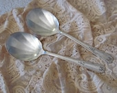 Pair 2 Silver Plate Large Casserole Serving Spoons - Friendship Pattern (12B)