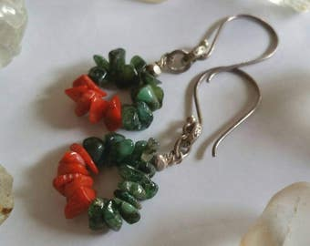 Natural Emerald Gemstone and Red Coral Circle Drop Earrings